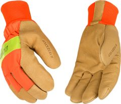 Lined Hi-Vis Orange Waterproof Grain Pigskin Knit